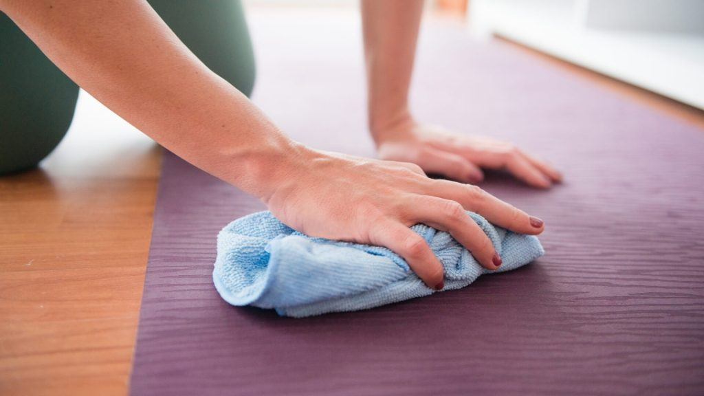 A fibre towel is useful when you want to clean jade yoga mat